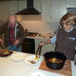 Justin & Delia preparing dinner in our kitchen