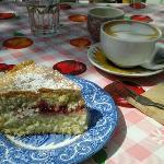 Homemade Sponge Cake and Cappuccino