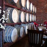 The wine barrels create an interesting wall!