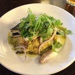 Sea bass on chorizo risotto