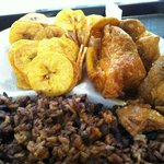 Pork, Plantain Chips, and Black Beans & Rice