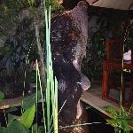 statue dans la partie exterieure du restaurant