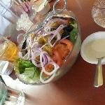 Salad with homemade dressing on the side