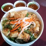 Vietnamese noodles with spring rolls