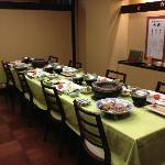 Our family's private traditional Japanese dining each evening with western chairs