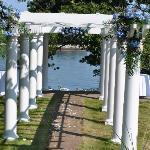 """Pergola"" on lawn where we got married"