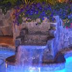 Waterfall in hot tub