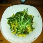 Pasta with Pesto Sauce (string beans, sun dried tomatoes, garlic, and shoots of some kind) OVER