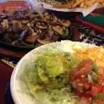 Fajitas with guacamole, pico de gayo and sourcream