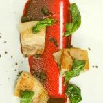 Pig wadle with beetroot pure