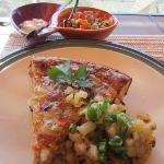 Sausage pie with fresh salsa.