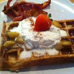 The amazingly delicious bananas foster waffle!