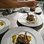 Roasted quail farcie, braised red cabbage, jus roti