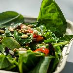 House Salad -Spinach, basil, Kalamata olives, tomato, cucumber, red pepper, roasted pepitas, red