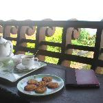 Tea and cookies in a lovely place