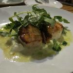 2nd: Scallops w/ crispy pancetta on pea pudding, with pea greens