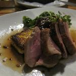 3rd: Roast pork tenderloin, crispy polenta cake, shallot jam, arugula, au poivre sauce