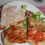 Although there are many sandwiches to choose from my favorite: eggplant parmesan.