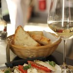 Caprese salad and white wine