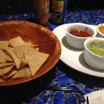 Tortila Chips with Three Dips