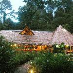 The main  lodge at dusk