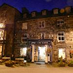 The Royal Ship at night - an imposing hotel in a lovely village.