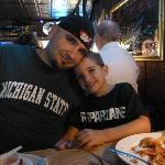 My husband and son eating dinner at The Keyhole Bar