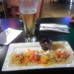 beer and fish tacos