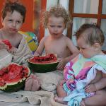 my boys enjoying watermelon
