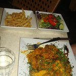 The Maltese curry that comes with side orders of chips and salad!