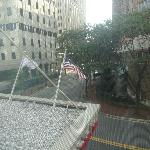 Street view from our room overlooking American flag.