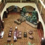 Looking down on the lobby from the fourth floor