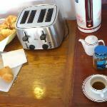 breakfast: jam and hot water for instant coffee or tea