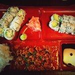 Dinner bento, 16$: miso soup, coleslaw, spicy beef sauce, 8 california rolls and 8 avocado rolls