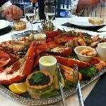 Fish platter with Lobster, King Prawns, Crab, salad and lots more! Exquisite!!