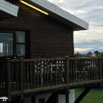 Hotel con el volcán Hekla al fondo