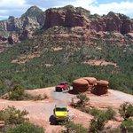 Jeeps circling Mushroom Rock on the Broken Arrow trail.