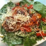 Amazing salads: Spinach & Blackened Alaskan Cod, Chicken Greek Kabob, Smoked Salmon Caesar