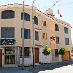 Hotel facade & neighborhood