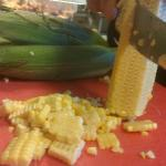 Preparing corn from Portwood Acres for the LOCAL corn maque choux