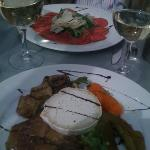 beef carpaccio and a grilled veg & goat cheese salad