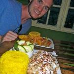 Mystic Chicken (foreground) Vegan Platter (aft)