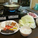 Steamboat dinner prepared by Mr Chen of Happy Farm. A lot of food for two persons.