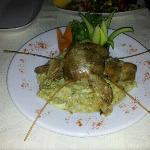 Lamb on eggplant.....