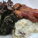 Fried chicken with collard greens & confit garlic mashed
