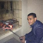 Shiraj BBQ'ing on the balcony