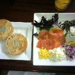 Breakfast, lox, cream cheese, and fixins, in the Grill restaurant.