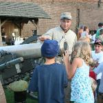 Children visiting Old Fort Jackson enjoying the opportunity to learn about artillery.