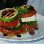 littel towers made of grilled vegetables & feta cheese