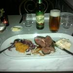 Grilled topblade with a gras canard and red onion confit, coleslaw with mashed roasted sweet pot